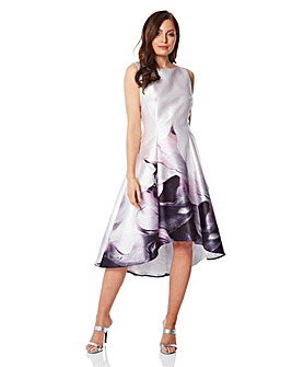 Roman Marble Print Dipped Hem Dress