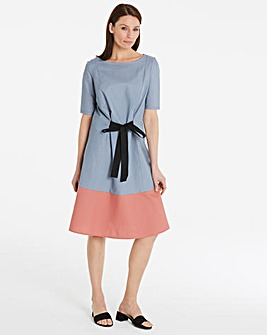I.Scenery Tie Front Colour Block Dress