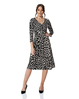 Roman Animal Print Fit And Flare Dress