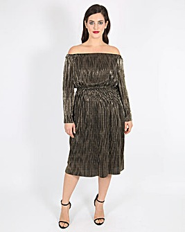 Lovedrobe Pleated Bardot Dress