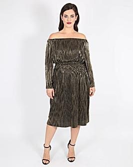 Lovedrobe Pleated Bardot Dress