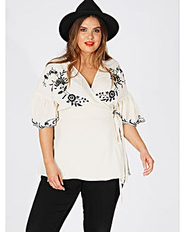 Koko Ivory Embroidered Wrap Top