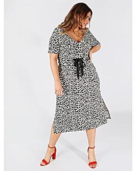 Koko Leopard Print Jersey Midi Dress