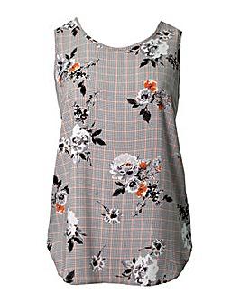 Lovedrobe GB Floral Check Print Vest Top