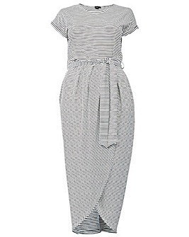 Izabel London Curve Stripe Wrap Dress