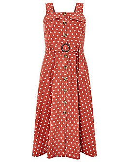 Monsoon Liza Spot Midi Pinnie Dress