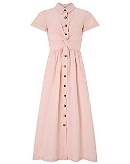 Monsoon Adella Dobby Linen Midi Dress