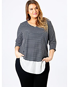 Koko Stripe V-Neck Semi Sheer Panel Top