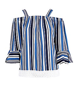 c56bfeeda1a3e9 Lovedrobe GB Striped Cold Shoulder Top