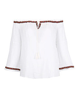 Koko White Aztec Trim Bardot Top
