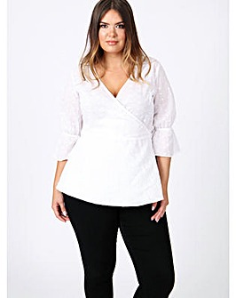 Koko White Wrap Top with Frill Sleeve