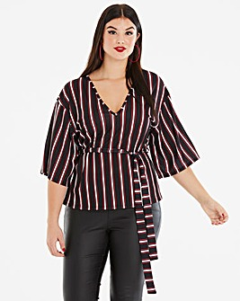 Pink Clove Stripe Wrap Top