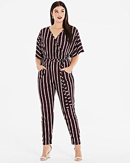 Pink Clove Stripe Wrap Jumpsuit