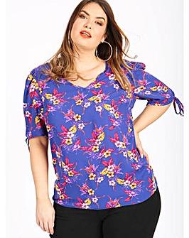 Koko Navy Floral Print Tie Sleeve Blouse