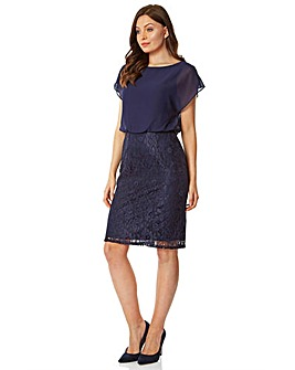 Roman Chiffon Lace Fitted Dress