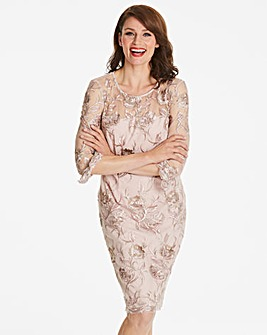 Gina Bacconi Floral Frill Sleeve Dress