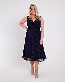 Scarlett & Jo Velvet Spot Midi Dress
