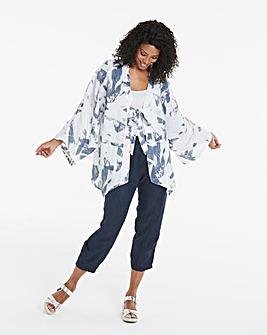 Eden Rock Kimono Tie Front Pure Linen Jacket