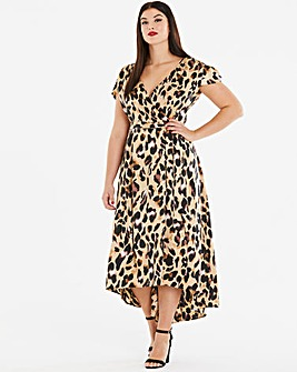 Ax Paris Curve Leopard Satin Dip Dress