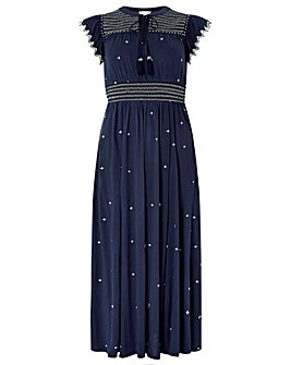 f202a32ef0ff Monsoon Jo Jersey Embroidered Midi Dress
