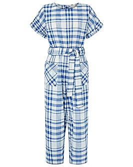 Monsoon Oria Check Crop Jumpsuit