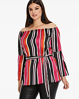 AX Paris Curve Multi Stripe Satin Blouse