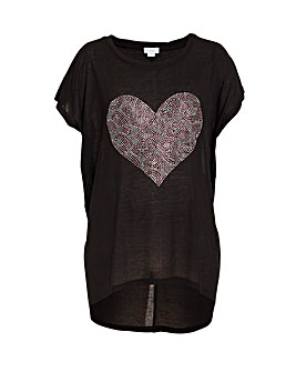 Blue Vanilla Curve Sequin Heart T-Shirt