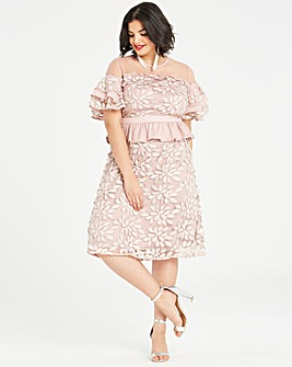 Dolly & Delicious Embroidered Lace Dress With Peplum Detailing