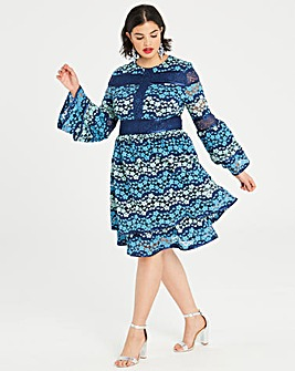 Dolly & Delicious Lace Pannelled Dress With Fluted Sleeves