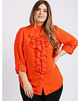 Lovedrobe GB Orange Ruffle Front Shirt