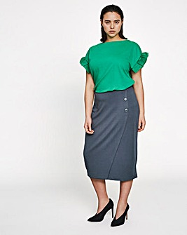 I.Scenery Button Wrap Midi Skirt