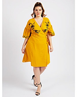 Koko Mustard Embroidered Wrap Dress