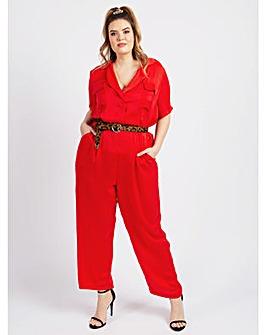 Koko Red Satin Jumpsuit