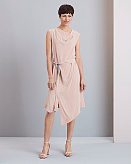 Concept Cupro Belted Blend Asymmetric Dress