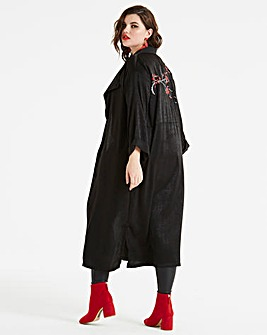 Koovs Embroidered Longline Jacket