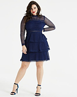 AX Paris Curve Spot Mesh Ruffle Dress