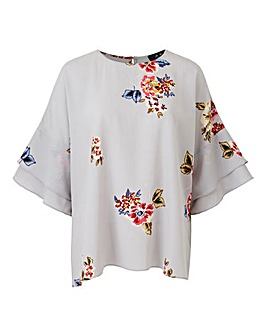 Ax Paris Floral Ruffle Sleeve Blouse