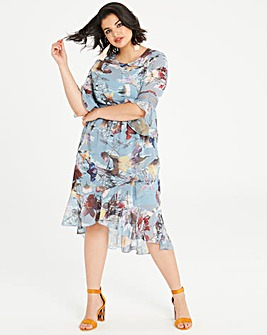 Little Mistress Floral Dip Hem Dress