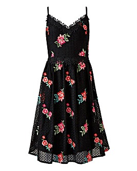 Little Mistress Crochet and Embroidered Midi Dress