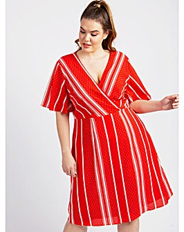 Koko Red Stripe Wrap Dress