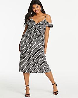 Oasis Monroe Stripe Wrap Dress
