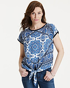 Oasis Scarf Print Woven Front Top