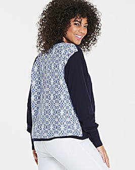 Oasis Tile Print Woven Back Cardigan
