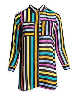 Koko Multicoloured Stripe Longline Shirt