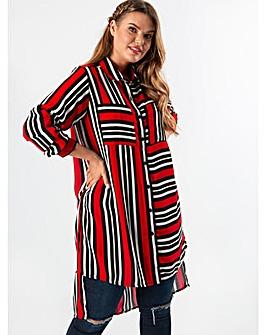 Koko Red and Black Stripe Longline Shirt