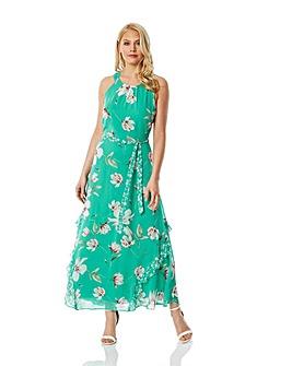 Roman Floral Print Frill Maxi Dress