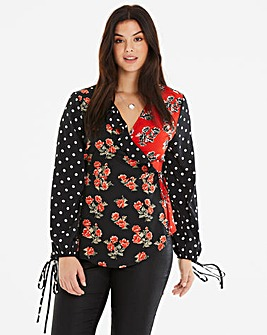 Neon RoseSpot and Floral Mix Wrap Blouse