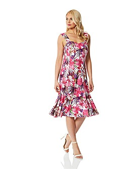 Roman Tropical Floral Panel Dress