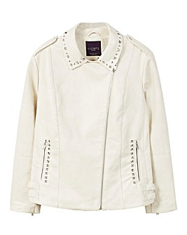 Violeta by Mango Beaded Back PU Jacket