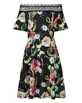 Lovedrobe Bardot Dress with Lace Detail